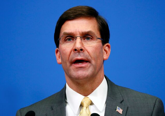 U.S. Secretary of Defence Mark Esper speaks at a news conference following a NATO defence ministers meeting at the Alliance headquarters in Brussels, Belgium, February 13, 2020.