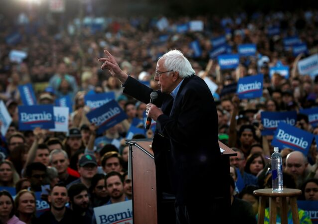 Democratic U.S. presidential candidate Senator Bernie Sanders speaks an outdoor campaign rally in Austin, Texas, U.S., February 23, 2020.