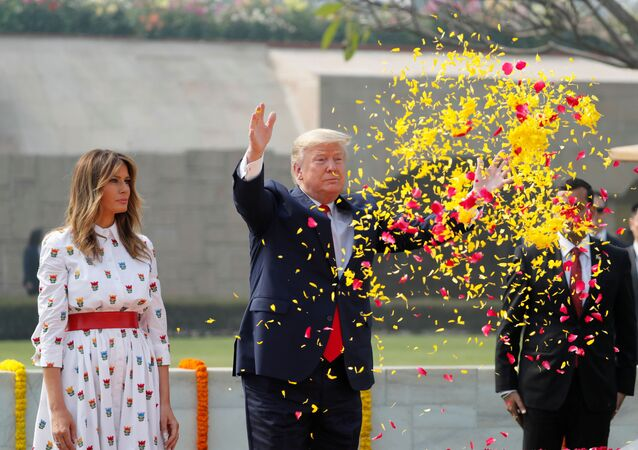 U.S. President Donald Trump and first lady Melania Trump attend a wreath laying ceremony at Mahatma Gandhi's memorial at Raj Ghat in New Delhi, India, February 25, 2020