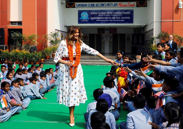 U.S. first lady Melania Trump greets children at the Sarvodaya Co-Education Senior Secondary School in Moti Bagh, in New Delhi, during a visit of U.S. President Donald Trump in India, February 25, 2020