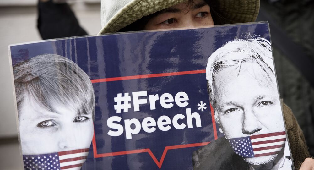 Participant in a rally in support of WikiLeaks founder Julian Assange in London.