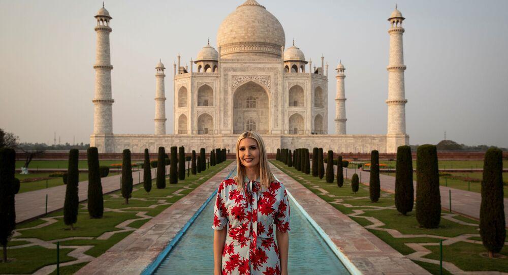 White House senior advisor Ivanka Trump poses for a photograph as the U.S. delegation tours the historic Taj Mahal, in Agra, India, February 24, 2020.