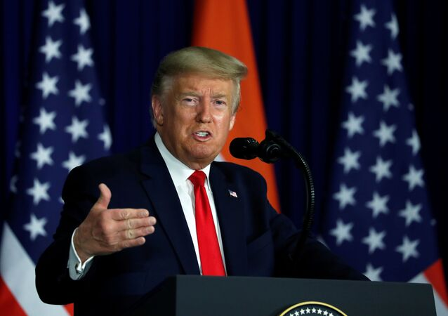 U.S. President Donald Trump speaks during a news conference in New Delhi, India, February 25, 2020.