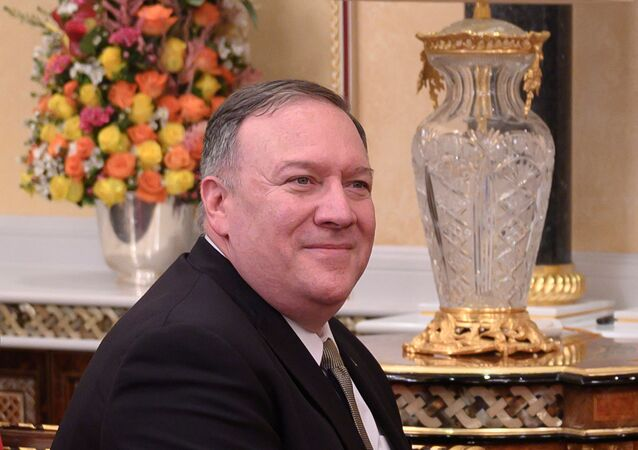 U.S. Secretary of State Mike Pompeo meets with Oman's Sultan Haitham bin Tariq (not pictured) at al-Alam palace in Muscat, Oman on February 21, 2020