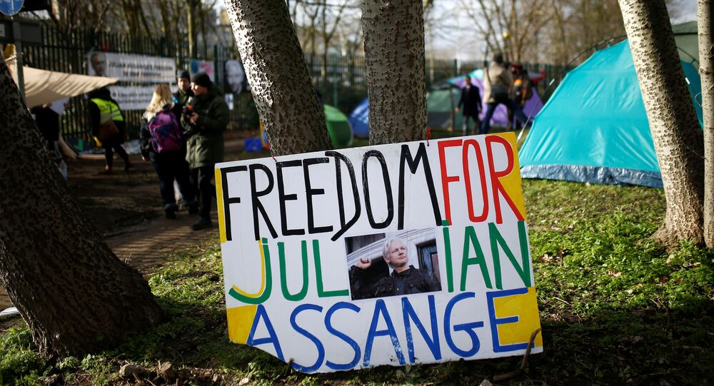 A sign in support of WikiLeaks founder Julian Assange sits near a camp set up by protesters outside Woolwich Crown Court, ahead of a hearing to decide whether Assange should be extradited to the United States, in London, Britain February 25, 2020.