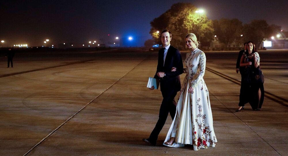 White House senior advisors Jared Kushner and Ivanka Trump walk to board Air Force One as they conclude their two day visit to India with the U.S. delegation, at Air Force Station Palam in New Delhi, India, February 25, 2020