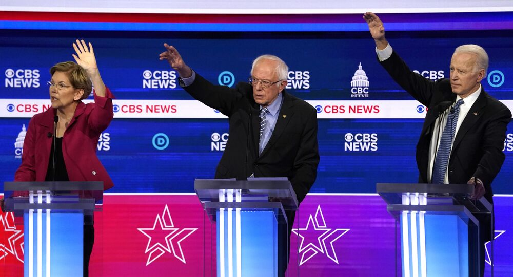 Democratic 2020 U.S. presidential candidates Senator Elizabeth Warren, Senator Bernie Sanders, and former Vice President Joe Biden debate in the tenth Democratic 2020 presidential debate at the Gaillard Center in Charleston, South Carolina, U.S. February 25, 2020