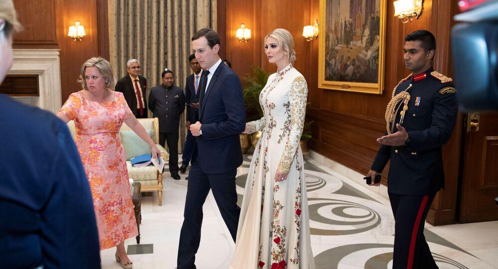 White House Senior Adviser Jared Kushner and his wife Ivanka Trump arrive for a state banquet at Rashtrapati Bhavan, in New Delhi, India February 25, 2020.