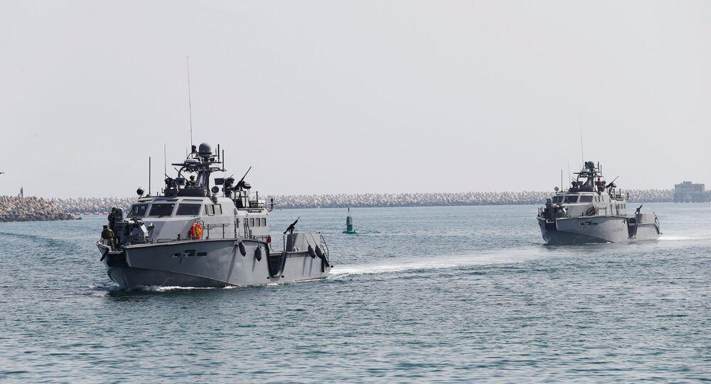 U.S. Navy patrol boats arrive at Saudi Royal Navy, Eastern Fleet Headquarters, during mixed maritime exercise in Jubail, Saudi Arabia, February 23, 2020
