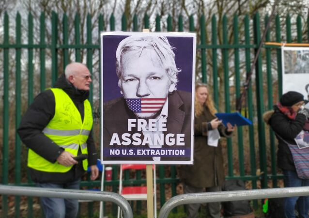 Free Assange No US Extradition Poster at Woolwich Crown Court/Belmarsh pro Assange Rally