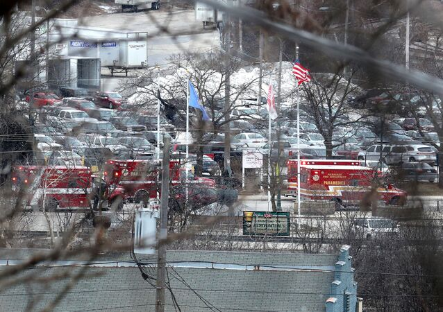 Emergency vehicles are parked near the entrance to Molson Coors headquarters in Milwaukee, Wisconsin, February 26, 2020.  Rick Wood/Milwaukee Journal Sentinel/USA TODAY NETWORK via REUTERS