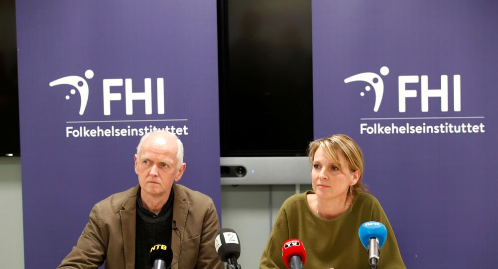 The Director of the Department of Infection Control and Environmental Health Geir Bukholm and the Director of the Department of Infectious Disease Epidemiology Line Vold speak during a news conference about the spread of the coronavirus in their country, at the Institute of Public Health in Oslo, Norway, February 26, 2020