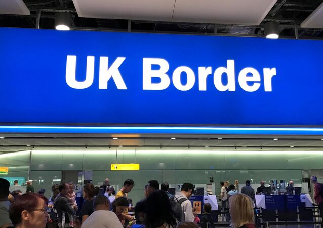 The UK border control point at the arrivals area of London's Heathrow Airport