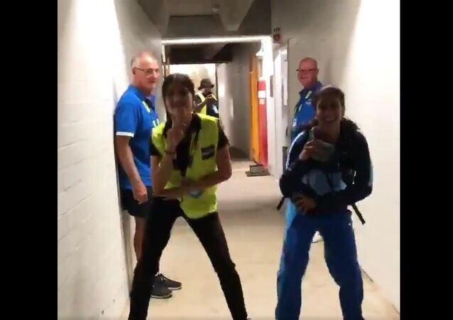 Busting moves with an off-duty security guard