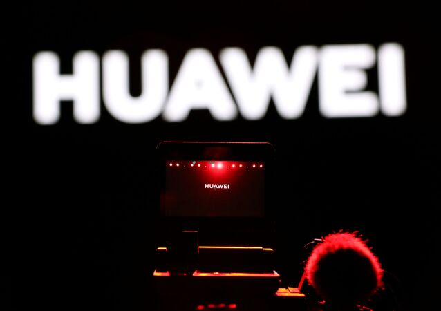 A cameraman records during Huawei stream product launch event in Barcelona, Spain February 24, 2020