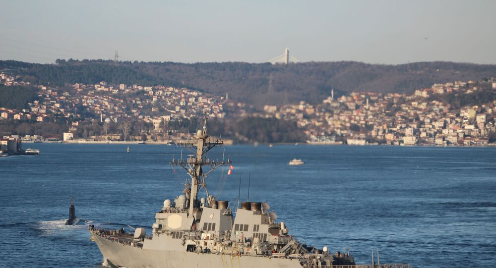 U.S. Navy guided-missile destroyer USS Ross sails in the Bosphorus, on its way to the Black Sea, in Istanbul, Turkey, February 23, 2020