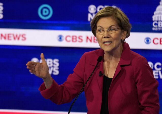 Democratic 2020 U.S. presidential candidate Senator Elizabeth Warren speaks at the tenth Democratic 2020 presidential debate at the Gaillard Center in Charleston, South Carolina, U.S. February 25, 2020