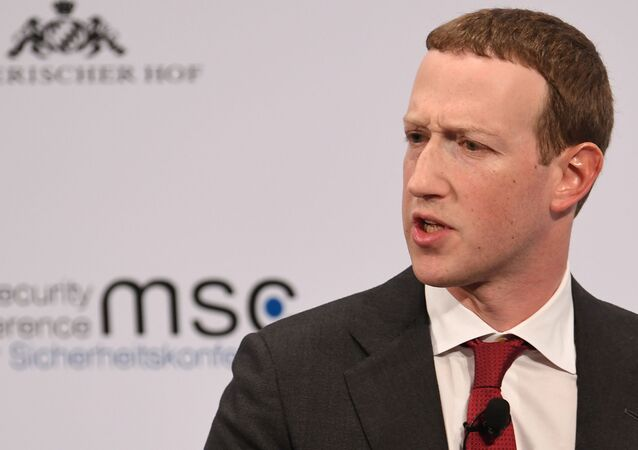 Facebook Chairman and CEO Mark Zuckerberg speaks during the annual Munich Security Conference in Germany, February 15, 2020.