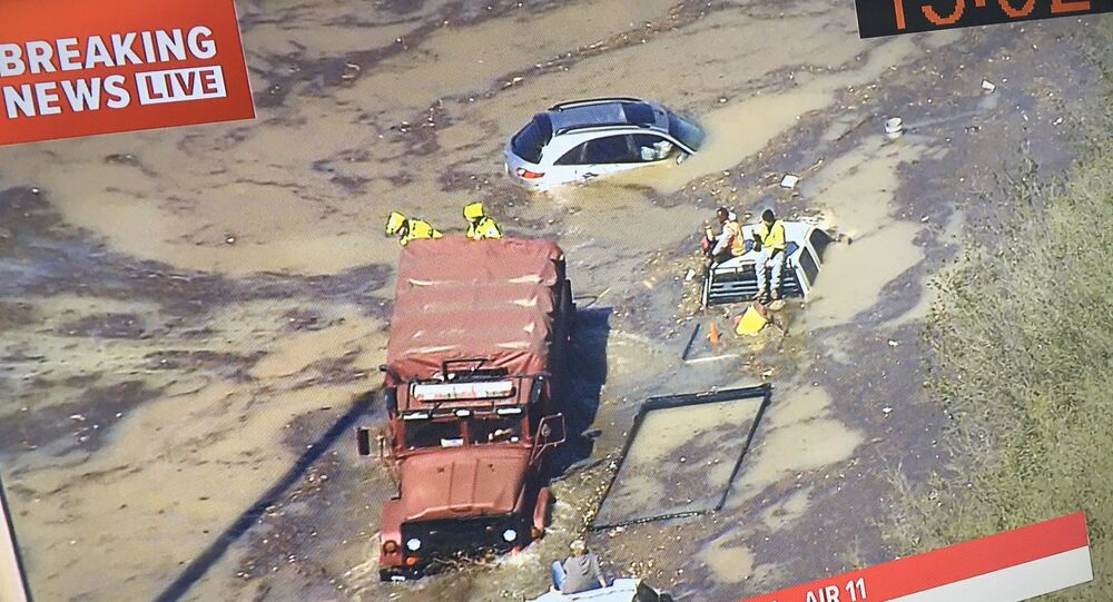 Massive Water Main Break Floods Streets, Drowns Cars in Houston, Texas, US, 27 February 2020.