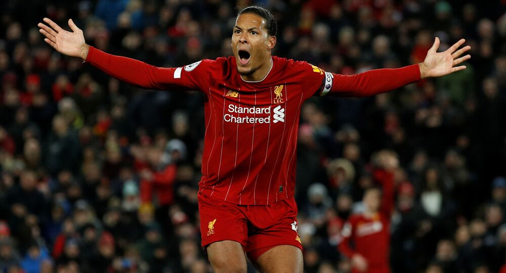 Soccer Football - Premier League - Liverpool v West Ham United - Anfield, Liverpool, Britain - 24 February 2020  Liverpool's Virgil van Dijk reacts REUTERS/Phil Noble  EDITORIAL USE ONLY. No use with unauthorized audio, video, data, fixture lists, club/league logos or live services. Online in-match use limited to 75 images, no video emulation. No use in betting, games or single club/league/player publications.  Please contact your account representative for further details.