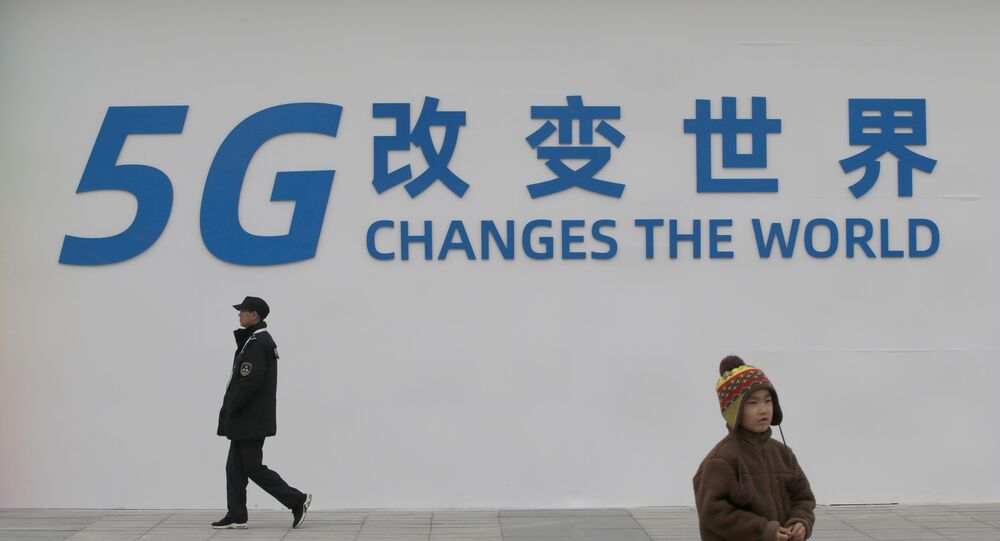 FILE PHOTO: A sign for the World 5G Exhibition is seen in Beijing, China November 22, 2019.