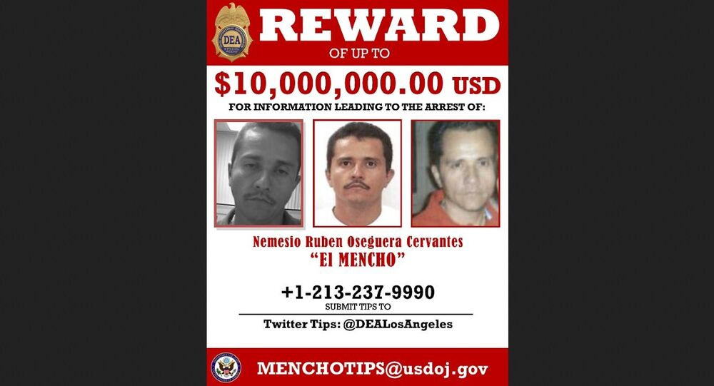 Wanted poster of Nemesio Osergura Cervantes (alias El Mencho), offering US$10 million for information leading to his arrest