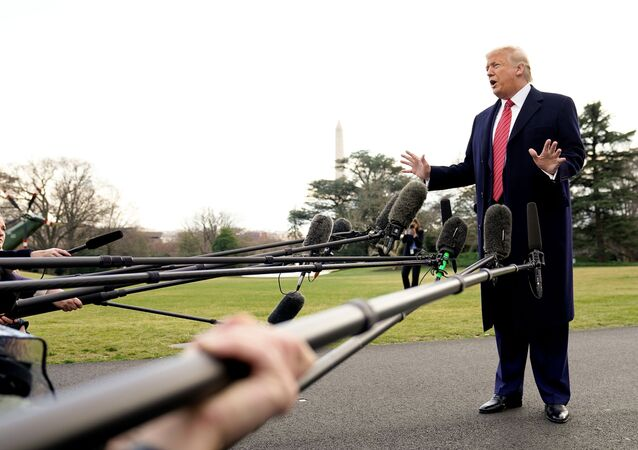 U.S. President Donald Trump talks to reporters as he departs on campaign travel to Charleston, South Carolina from the South Lawn of the White House in Washington, U.S.,  February 28, 2020. REUTERS/Kevin Lamarque