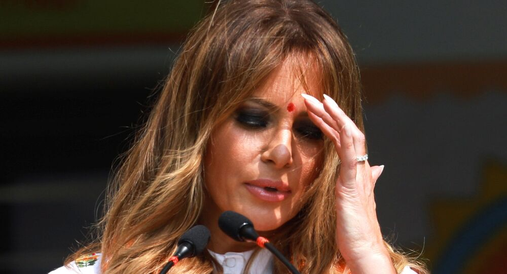 U.S. first lady Melania Trump gestures as she speaks at the Sarvodaya Co-Education Senior Secondary School in Moti Bagh, in New Delhi, during a visit by U.S. President Donald Trump in India, February 25, 2020.