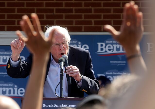 Democratic 2020 US presidential candidate Senator Bernie Sanders rallies supporters at a campaign office in Aiken, South Carolina, 28 February 2020.