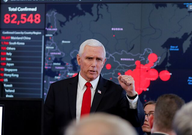US Vice President Mike Pence speaks during a tour of the secretary's operation center following a coronavirus task force meeting at the Department of Health and Human Services (HHS) in Washington, US, 27 February 2020.