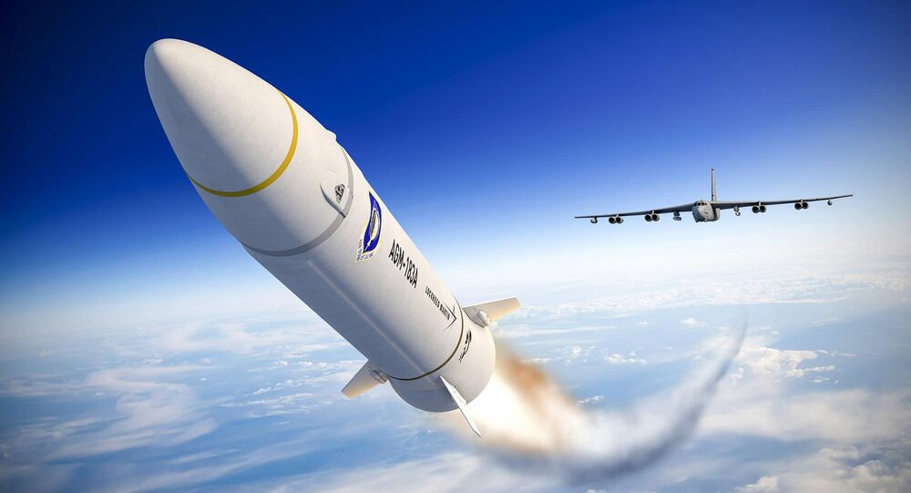 Rendering of an AGM-183A Air-launched Rapid Response Weapon (ARRW) being launched from a B-52 Stratofortress