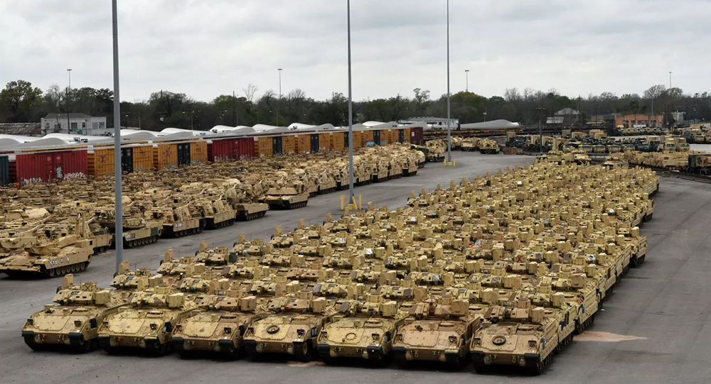 US military equipment preparing to be deployed to Europe for Defender-Europe 2020 drills.