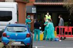 Medical staff prepares to check guests leaving the H10 Costa Adeje Palace, which is on lockdown after the novel coronavirus has been confirmed in Adeje, Tenerife, Spain, February 28, 2020. REUTERS/Borja Suarez