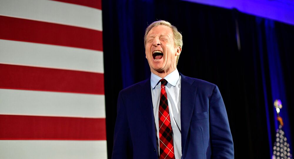 Democratic Presidential candidate entrepreneur Tom Steyer reacts as he speaks to supporters as he announced that he is suspending his campaign at his election night party on the day of the South Carolina  primary in Columbia, South Carolina, U.S., February 29, 2020. REUTERS/Mark Makela