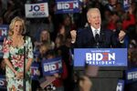 Democratic presidential candidate former Vice President Joe Biden, accompanied by his wife Jill Biden, speaks at a primary night election rally in Columbia, S.C., Saturday, Feb. 29, 2020.