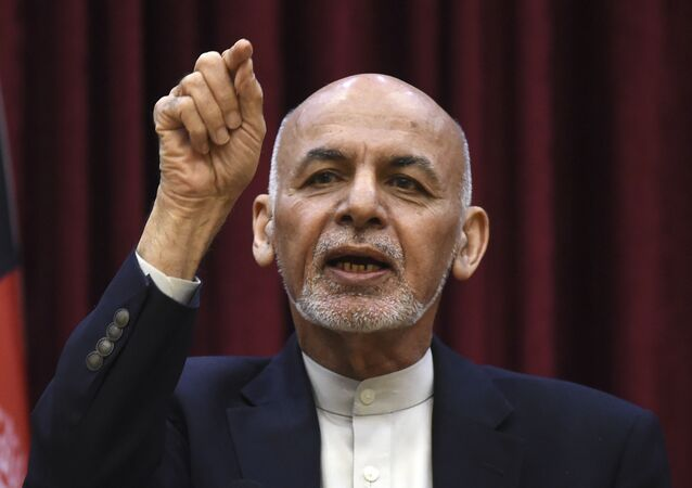 Afghan President Ashraf Ghani gestures as he speaks during a press conference at the presidential palace in Kabul on 1 March 2020.
