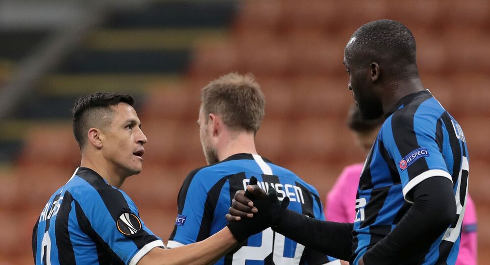 San Siro, Milan, Italy - February 27, 2020    Inter Milan's Romelu Lukaku celebrates his goal with Alexis Sanchez