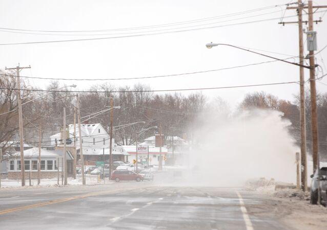 Lake Erie's waves crash over a road during blizzard in Hamburg, New York, U.S., February 27, 2020.
