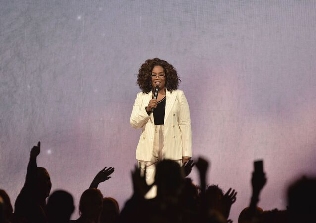 Oprah Winfrey makes opening remarks during Oprah's 2020 Vision tour at the Forum on Saturday, Feb. 29, 2020, in Inglewood, Calif.