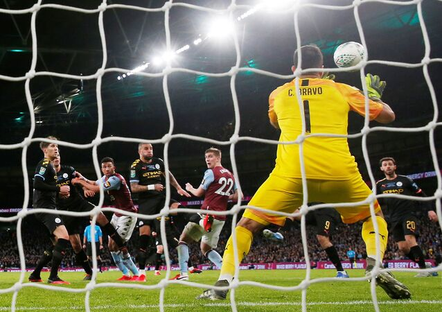 Soccer Football - Carabao Cup Final - Aston Villa v Manchester City - Wembley Stadium, London, Britain - March 1, 2020  Manchester City's Claudio Bravo makes a save from Aston Villa's Bjorn Engels header