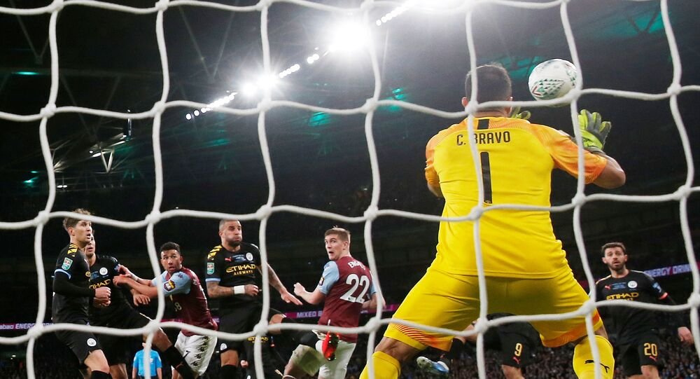 Soccer Football - Carabao Cup Final - Aston Villa v Manchester City - Wembley Stadium, London, Britain - March 1, 2020  Manchester City's Claudio Bravo makes a save from Aston Villa's Bjorn Engels header