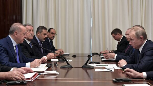 Russian President Vladimir Putin's meeting with his Turkish counterpart Recep Erdogan as part of International conference on Libya in Berlin on 19 January, 2020 - Sputnik International