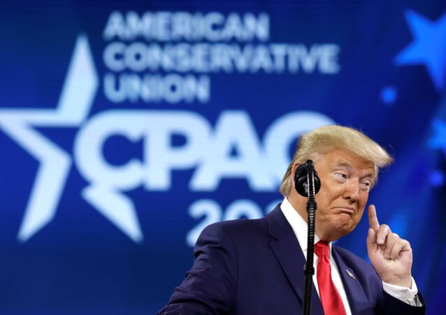 U.S. President Donald Trump addresses the Conservative Political Action Conference (CPAC) annual meeting at National Harbor in Oxon Hill, Maryland, U.S., February 29, 2020.