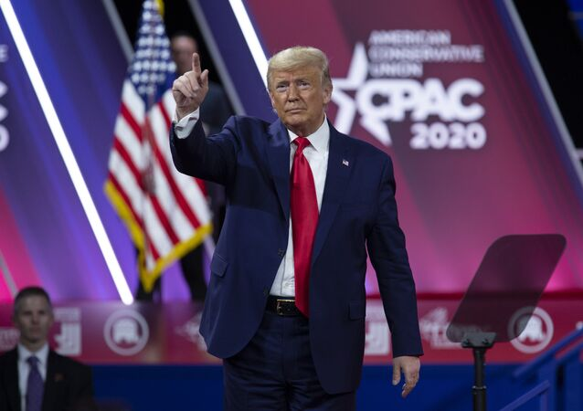 President Donald Trump greets the crowd after speaking at Conservative Political Action Conference, CPAC 2020, at the National Harbor, in Oxon Hill, Md., Saturday, Feb. 29, 2020.