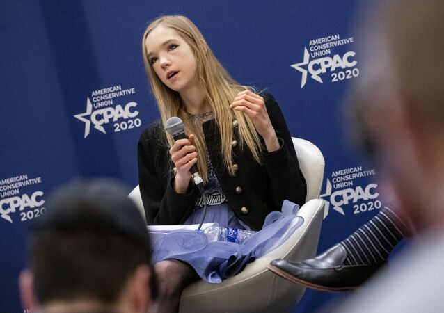 Naomi Seibt, a 19 year old climate change skeptic and self proclaimed climate realist, speaks during a workshop at the Conservative Political Action Conference 2020 (CPAC) hosted by the American Conservative Union on February 28, 2020 in National Harbor, MD.