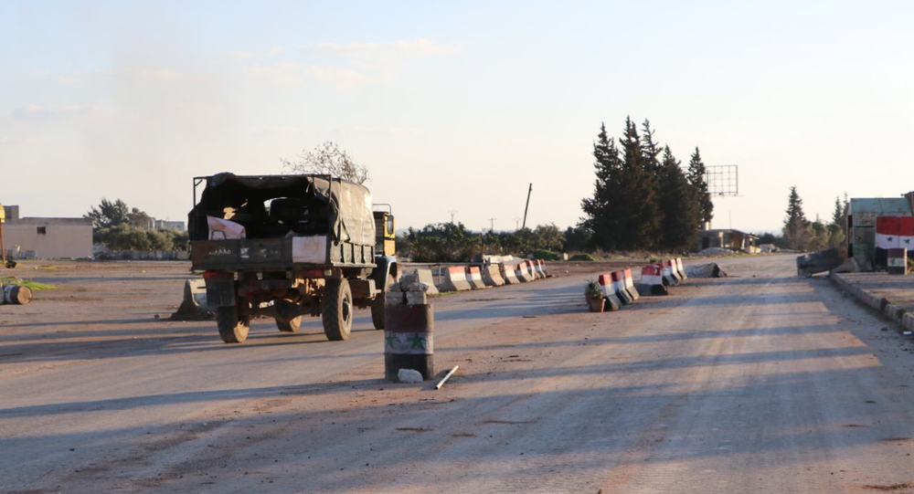 Vehicle is seens on one of the roads in town of Saraqib, Syria's Idlib Governorate
