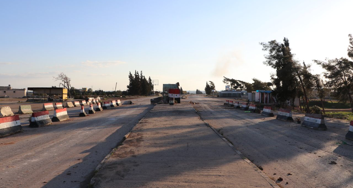 Empty road in Saraqib, Syria's Idlib Governorate