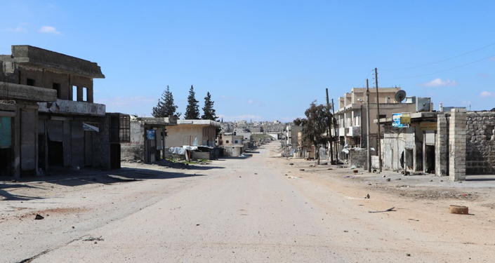 Empty street in town of Saraqib, Syria's Idlib Governorate