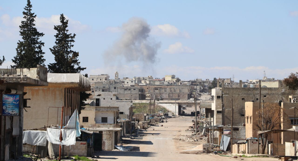 Smoke is rising over town of Saraqib, Syria's Idlib Governorate