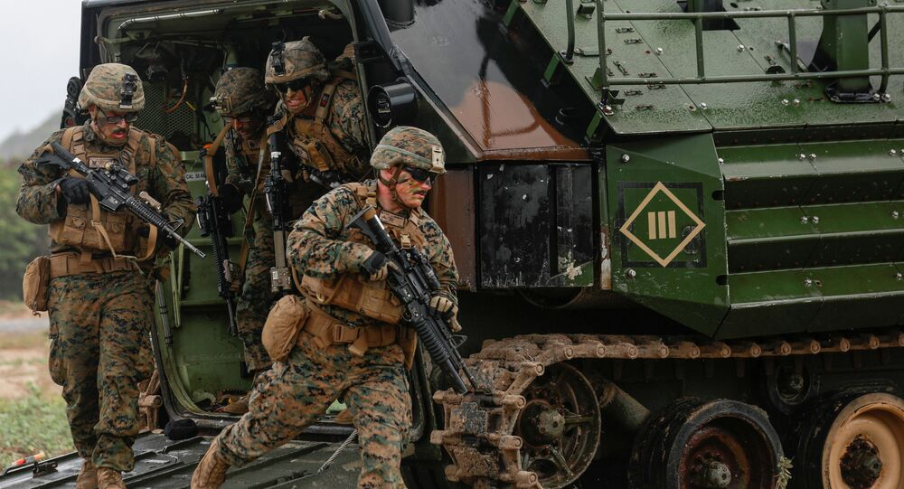 Soldiers take part in the Amphibious Assault Demonstration during the Cobra Gold multilateral military exercise in Hat Yao Beach, Sattahip District, Chonburi Province, Thailand February 28, 2020.